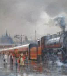 Cityscape Acrylic Art Painting title 'Wet Platform Retro 1970' by artist Bijay Biswaal