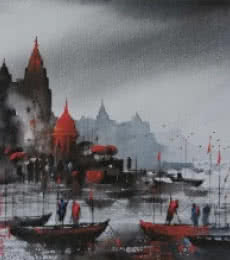 Banaras Ghat 12 | Painting by artist Ashif Hossain | acrylic | Canvas