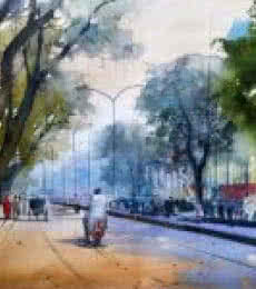 Nagpur Road | Painting by artist Bijay Biswaal | watercolor | Paper