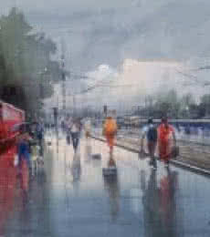 Cityscape Watercolor Art Painting title Wet Platform Red by artist Bijay Biswaal
