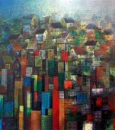 Abstract Acrylic Art Painting title High Rise by artist M Singh