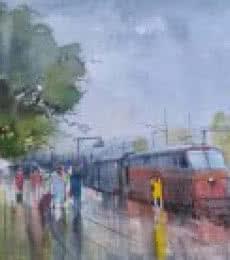 Wet Platform | Painting by artist Bijay Biswaal | watercolor | Paper