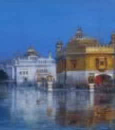 Bijay Biswaal | Acrylic Painting title Train to Golden Temple on Canvas | Artist Bijay Biswaal Gallery | ArtZolo.com