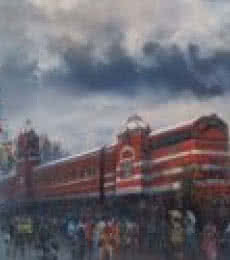 Cityscape Acrylic Art Painting title Wet Platform Chennai by artist Bijay Biswaal