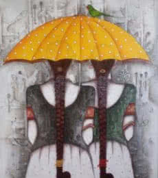 Yellow Umbrella | Painting by artist Kappari Kishan | acrylic | Canvas