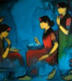 Gossip | Painting by artist Sachin Sagare | acrylic | Canvas