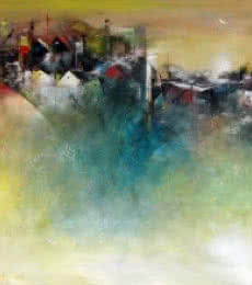 M Singh | Acrylic Painting title The Distant View Of A Village on Canvas | Artist M Singh Gallery | ArtZolo.com