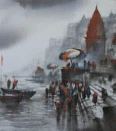 Banaras Ghat 24 | Painting by artist Ashif Hossain | acrylic | Canvas