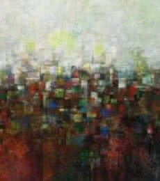 M Singh Paintings | Abstract Painting - The Village in Dream by artist M Singh | ArtZolo.com