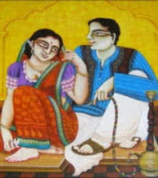 Figurative Acrylic Art Painting title 'Babu and Bibi 4' by artist Gautam Mukherjee