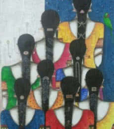 Figurative Acrylic Art Painting title 'Friends III' by artist Kappari Kishan