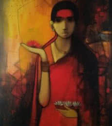 Sachin Sagare Paintings | Acrylic Painting - Indian Woman by artist Sachin Sagare | ArtZolo.com