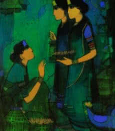 Three Women | Painting by artist Sachin Sagare | Acrylic | Canvas