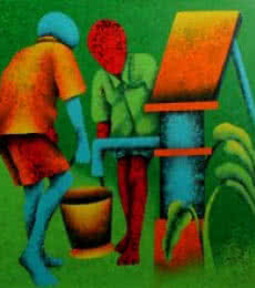 Athkheliyan 55   Painting by artist Lakhan Singh Jat   acrylic   Canvas