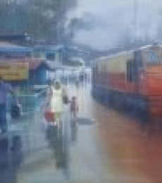 Wet Platform Himanchal | Painting by artist Bijay Biswaal | acrylic | Canvas