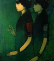 Figurative Acrylic Art Painting title 'Women in Dark' by artist Sachin Sagare