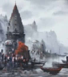 Ashif Hossain | Acrylic Painting title Banaras Ghat 36 on Canvas | Artist Ashif Hossain Gallery | ArtZolo.com