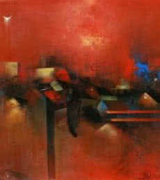 M Singh Paintings | Abstract Painting - Village In Red by artist M Singh | ArtZolo.com