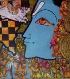 Ramesh Gorjala | Acrylic Painting title Krishna 2 on Canvas