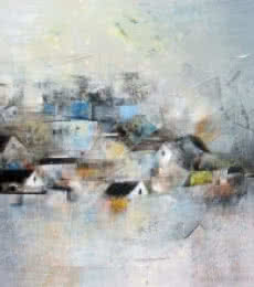 Abstract Acrylic Art Painting title My Dream Village by artist M Singh