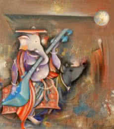 M Singh | Acrylic Painting title Ganesha Playing Sitar on Canvas | Artist M Singh Gallery | ArtZolo.com