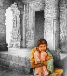 Realistic Mixed-media Art Painting title Flower Girl by artist Milind Varangaonkar