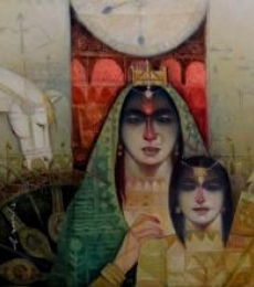 Figurative Oil Art Painting title 'Abhimanyu O Subhadra' by artist Arun Samadder