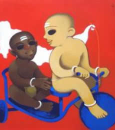 Childhood   Painting by artist Prakash Pore   acrylic   Canvas