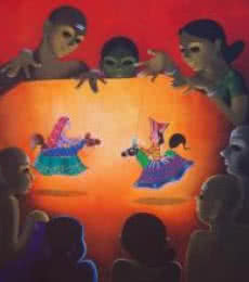 Dance Drama | Painting by artist Prakash Pore | acrylic | Canvas
