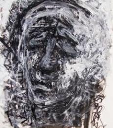 Figurative Pen-ink Art Drawing title 'Pain 4' by artist Rupchand Kundu