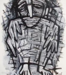 Figurative Pen-ink Art Drawing title 'Pain 6' by artist Rupchand Kundu