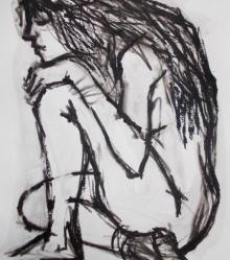 Nude Pen-ink Art Drawing title 'Pain 8' by artist Rupchand Kundu