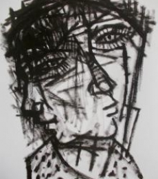 Figurative Pen-ink Art Drawing title 'Pain 9' by artist Rupchand Kundu