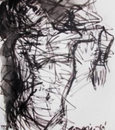 Nude Pen-ink Art Drawing title 'Pain 10' by artist Rupchand Kundu