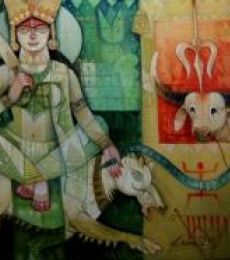 Arun Samadder | Oil Painting title Durga on Canvas | Artist Arun Samadder Gallery | ArtZolo.com