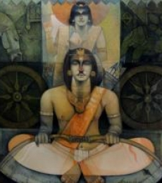 Figurative Oil Art Painting title 'Arjuna O Krishna In Kurukshetra' by artist Arun Samadder