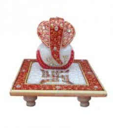 Painted Marble Ganesha With Saath | Craft by artist Ecraft India | Marble