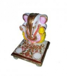 Ecraft India | Attractive Lord Ganesha On Chowki Craft Craft by artist Ecraft India | Indian Handicraft | ArtZolo.com