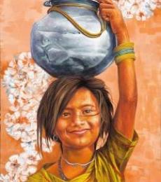 Village Girl | Painting by artist Milind Varangaonkar | acrylic | Canvas
