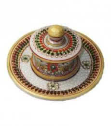 Designer Round Tray | Craft by artist Ecraft India | Marble