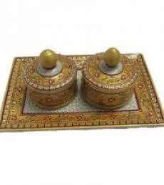 Floral Decorative Box Tray | Craft by artist Ecraft India | Marble