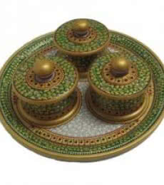 Ecraft India | Decorative Circular Box Tray Craft Craft by artist Ecraft India | Indian Handicraft | ArtZolo.com