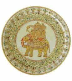 Decorative Pate With Elephant | Craft by artist Ecraft India | Marble
