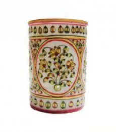 Floral Pen Stand   Craft by artist Ecraft India   Marble