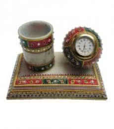 Decorative Pen Stand With Watch | Craft by artist Ecraft India | Marble