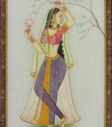 Ragini With Lotus | Craft by artist Ecraft India | Marble