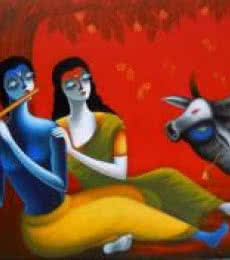 Romantic Couple | Painting by artist Santosh Chattopadhyay | acrylic | Canvas