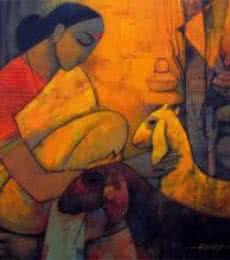 Rural Life 3 | Painting by artist Sachin Akalekar | acrylic | Canvas
