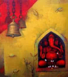 Shree Ganesh | Painting by artist Sachin Akalekar | acrylic | Canvas