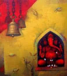 Sachin Akalekar | Acrylic Painting title Shree Ganesh on Canvas | Artist Sachin Akalekar Gallery | ArtZolo.com